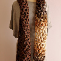 Unisex Crochet Chunky Scarf, Handmade Wool Scarf, Two Coloured Crochet Wool Scarf