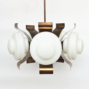 Midcentury  Modern Ceiling Lamp / Five Arm Chandelier / Pendant Light /  Copper & Glass / 70s Yugoslavia