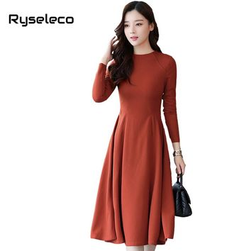 Ryseleco Women's Long Sleeve Fit and Flare Fall Winter Dress Ladies Elegant Slim Pure Color Casual Formal Basic Swing Vestidos