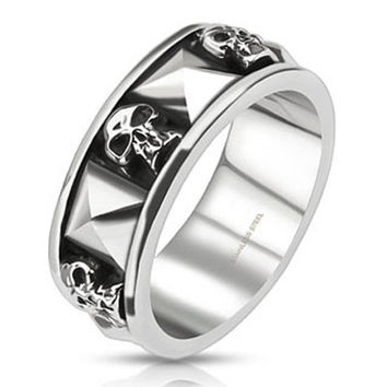 Skulls 'n' Studs – Oxidized silver stainless steel skull face with studs men's ring
