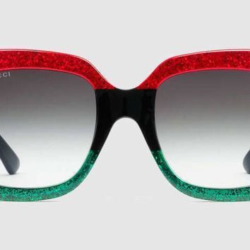 Gucci Women Sunglasses GG0083 Red Black Green Oversize Square - NEW