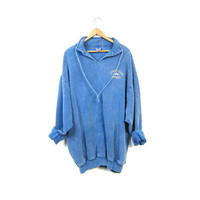 Vintage 90s Washed Out Denim Grunge Drawstring Pullover Sweatshirt CATALINA ISLAND Blue Sweater Hipster Oversized Shirt Mens Womens Large XL