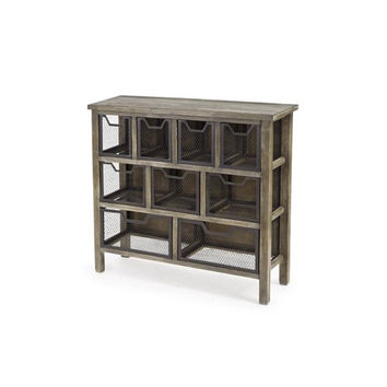 Cirque Reclaimed Gray Metal Bin Console Table