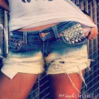 Distressed Bleached Studded Shorts