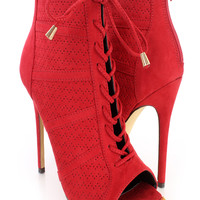 Red Lace Up Perforated Single Sole Booties Faux Suede