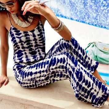 Grid printed leisure fashion condole jumpsuits