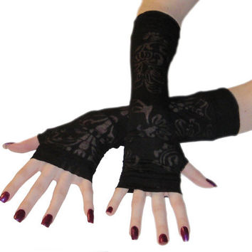 Sheer Darkness - Arm warmers black burnout jersey knit floral sleeves gothic fingerless gloves gypsy belly dancing