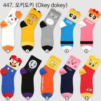 Miyazaki Hayao Totoro printing socks Anime cartoon cos Super Mario Bros No Face man funny novelty compression cotton women 2018
