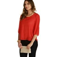 Coral With A Button Of Top Blouse