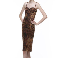 SOLD - Dolce & Gabbana Leopard Print Corset Dress
