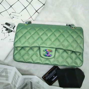 """Chanel"" women shopping shoulder bag female inclined shoulder bag green G-3A-XNRSSNB"