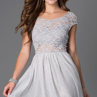 Short Scoop Neck Cap Sleeve Dress with Lace Bodice