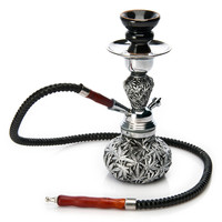 1PC High Quality Black Metal Resin Leaves Small Hookah Nice Shisha 1 PVC Hose best gifts for smoke Smoking Herb Tobacco Pipe
