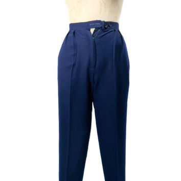 1980s Christian Dior Wool Pants / Navy Blue / Office Fashion / High Waist Trousers / Paris New York / Womens Vintage Pants / Size 4