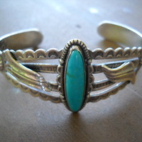 BELL Turquoise & Sterling Cuff Bracelet