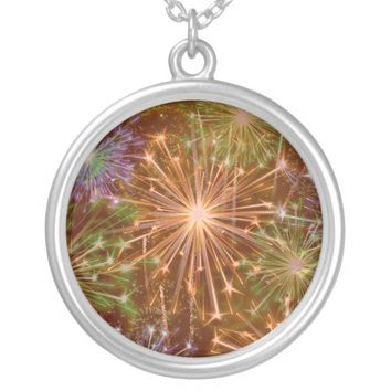Colorful Sparkling Fireworks Round Necklace