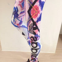 Adidas: woman flowers leggings Tight pants yoga pants
