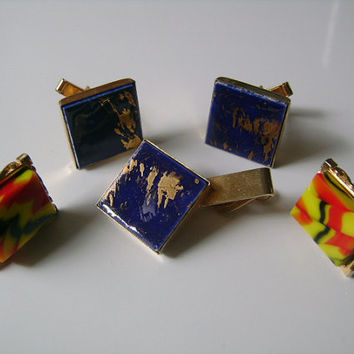 Vintage HICKOK USA PAT Pend #2920363 Cuff Links Tie Bar Clip Cufflink Set Gold Colorful Black Red Yellow Lucite/Acrylic &Blue Golden Marbled