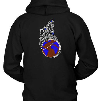 DCCKG72 One Direction Quote Globe Hoodie Two Sided