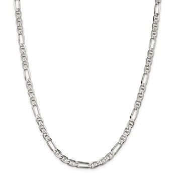 925 Sterling Silver 5.5mm Figaro Anchor Chain Necklace, Bracelet or Anklet