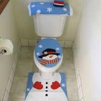 4 Pcs Christmas Santa Bathroom Toilet Seat Cover and Rug Set - Blue Snowman