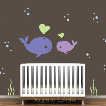 Whale Decal for Nursery Cute Baby Whale Wall Art