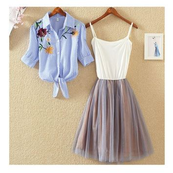 2 Pieces Tutu Dress Women Shirt And Sling Veil Dress Suit Cute Mesh Vest Ballet Dress Summer Blue White Shirt Princess Dresses