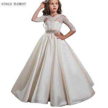 Lovely Lace Flower Girl Dresses Half Sleeves A Line First Communion Dress Baby Princess Girls Dress Kids Wedding Party Dress