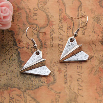 Paper Airplane earrings,retro silver SUPER COOL 3D Paper plane earrings---E008
