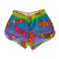 Made with Love and Kisses Girl's Fuzzy Shorts - XOXO Ombre