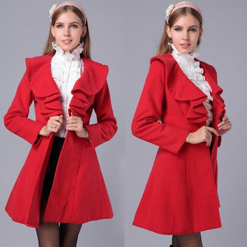 Elegant Ruffled Collar Wool Coat