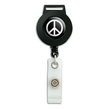 Rounded Peace Sign Symbol Black Retractable Badge Card ID Holder