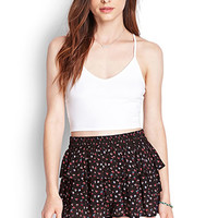 FOREVER 21 Tiered Floral Print Shorts Black/Pink