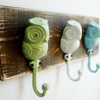 Owl trio wall decor for hanging light jackets scarves or jewelry great kitchen decor bedroom decor entryway decor