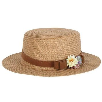 LMF78W Summer Elegant Bowknot Floral Hats Women Ladies Beach Cap Vintage Women Straw Hat