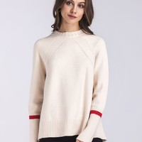 Beige Side Split Dipped Hem Knit Sweater