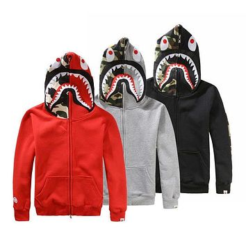 Bape Fashion Women Men Zipper Shark Print Hoodies Unisex Sweater Lovers Coat I
