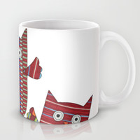 3 Red Owls Flying Mug by Erin Brie Art