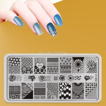 16 style 12X6cm New Color Nail Art Templates Made Stencils Of Stainles Butterfly Flower Image Fashion DIY Nail Stamping Plates