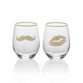 Mikasa Stemless Wine Glass Gift Set 18Ounce HubbyWifey