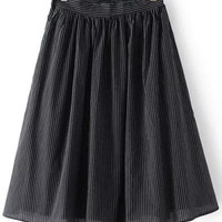 Black Pinstripe High Waist Midi Skirt