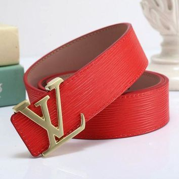 PEAPS Louis Vuitton LV x Supreme Fashion Smooth Buckle Belt Leather Belt