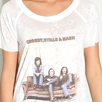 Crosby, Stills & Nash Tee in White by Chaser LA at TAGS