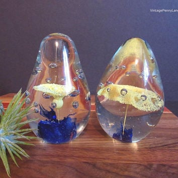 2 Vintage Glass Paperweights, Hand Blown Art Glass Figurine, Clear Yellow and Blue, Bubble Inclusions