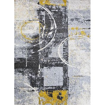 2984 Gray Yellow Distressed Contemporary Area Rugs