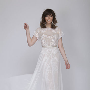 Bohemain lace wedding dress, wedding lace dress.