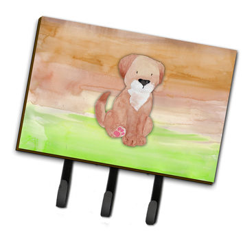 Dog Green and Brown Watercolor Leash or Key Holder BB7360TH68
