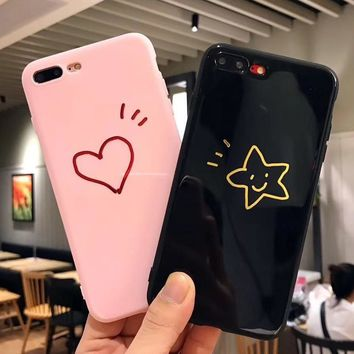 Glossy Letter Stick Figure Heart Star Soft TPU Phone Case For iPhone X 8 6 6s 7 Plus Cases Lovely King Queen Back Cover Coque