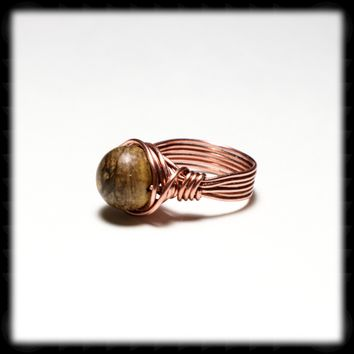 Copper Ring with 15MM Jasper Bead