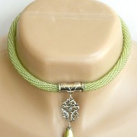 Green Peridot Beaded Necklace Sterling Silver Glass Pearl Choker